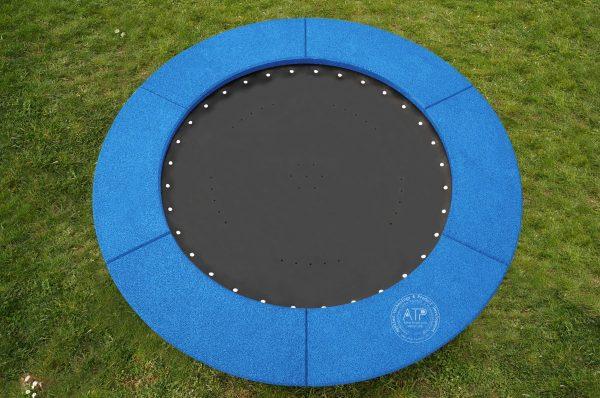 Produktfoto Bodentrampolin rund mit blauem EPDM Fallschutz