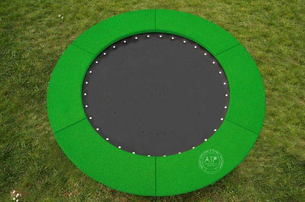 Produktfoto Bodentrampolin rund mit grünem EPDM Fallschutz