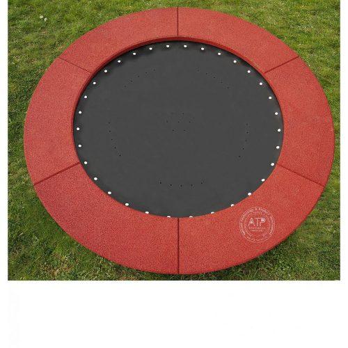 Produktfoto Bodentrampolin rund mit rotbraunem EPDM Fallschutz und Gummimembran Sprungmatte