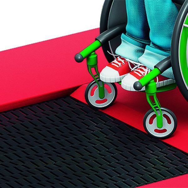 Grafik Vorführung barrierefreies Rollstuhl Trampolin