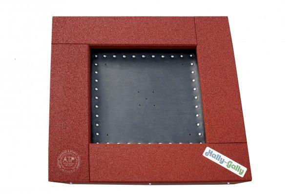 Draufsicht Trampolin zum Eingraben Modell Piccolo mit rotbraunem EPDM Fallschutz